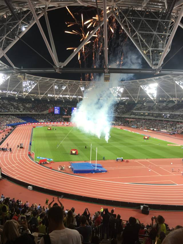Fireworks to celebrate the end of an evening of great athletics.