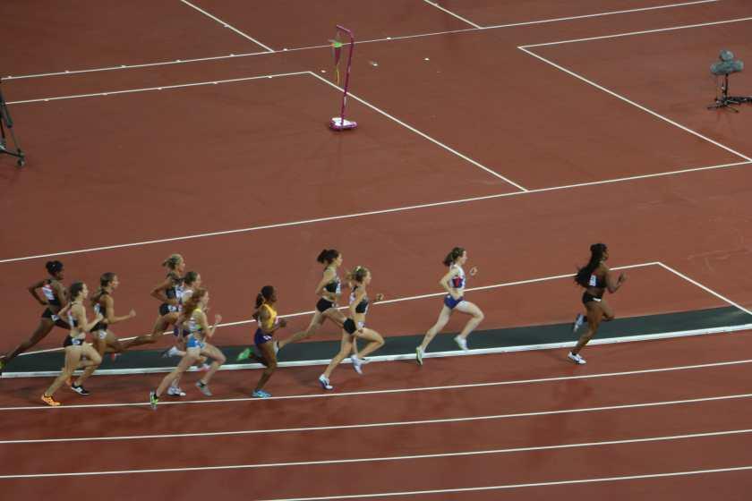 Britain's Laura Muir on her way to winning the 1500m.
