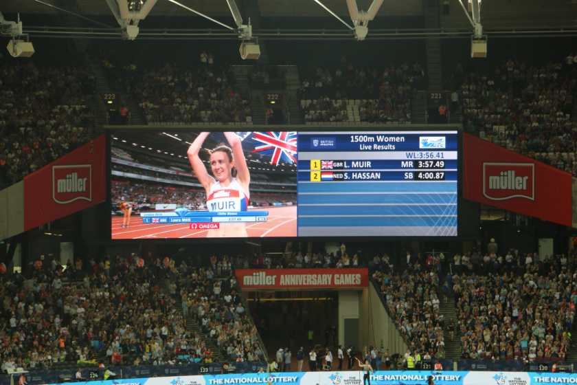 Laura Muir celebrating her new British record! She broke the 12-year-old record set by Dame Kelly Holmes.